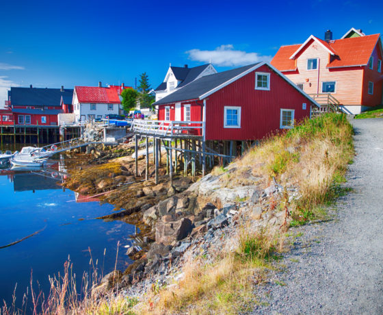 wooden houses in henningsvaer, lofoten.